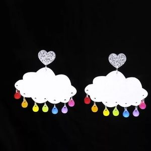 Rainbow Raindrops Glitter Cloud Earrings